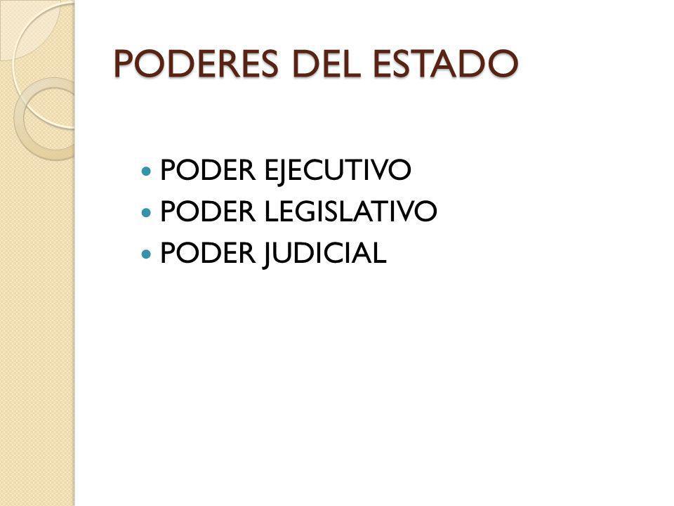 PODERES DEL ESTADO PODER EJECUTIVO PODER LEGISLATIVO PODER JUDICIAL