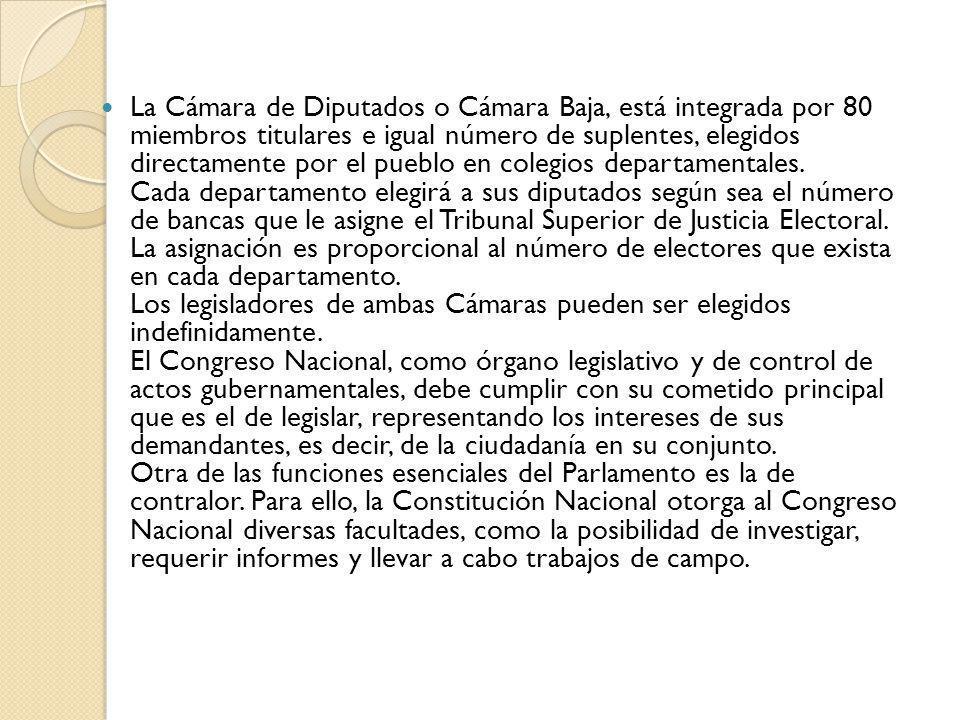 La Cámara de Diputados o Cámara Baja, está integrada por 80 miembros titulares e igual número de suplentes, elegidos directamente por el pueblo en colegios departamentales.