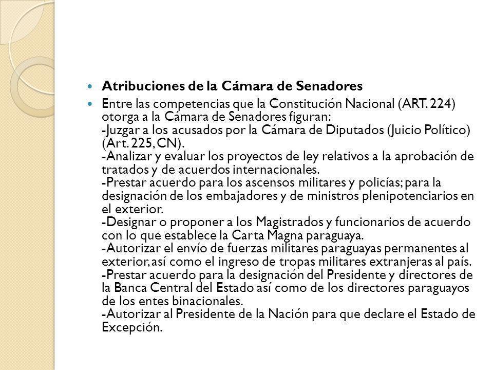 Atribuciones de la Cámara de Senadores