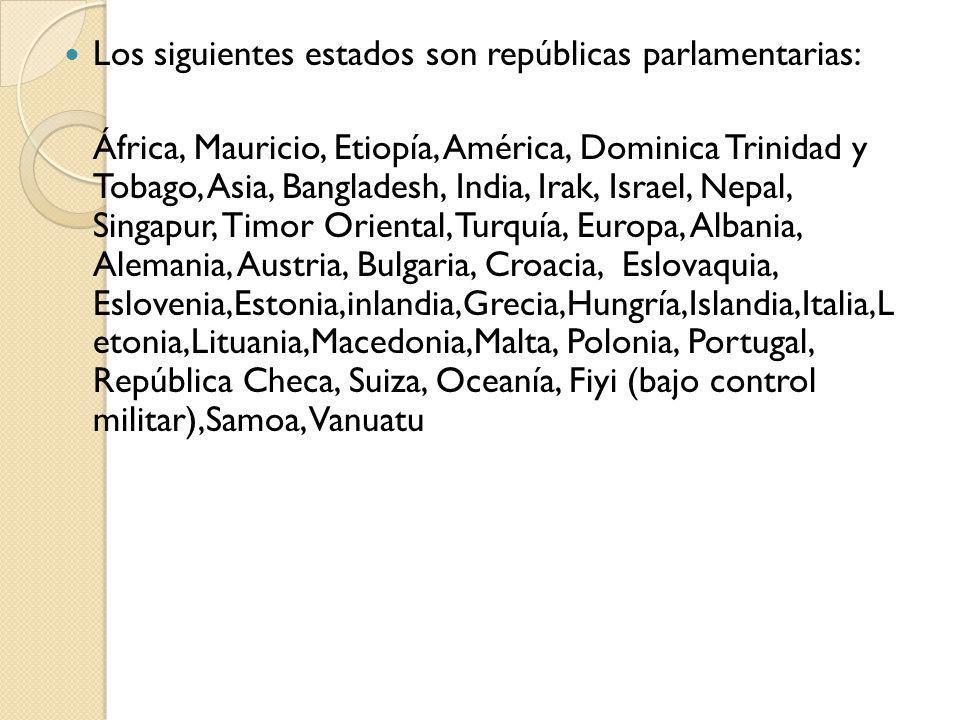 Los siguientes estados son repúblicas parlamentarias: