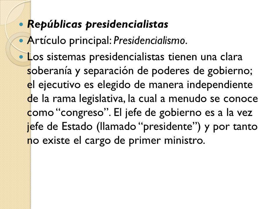 Repúblicas presidencialistas
