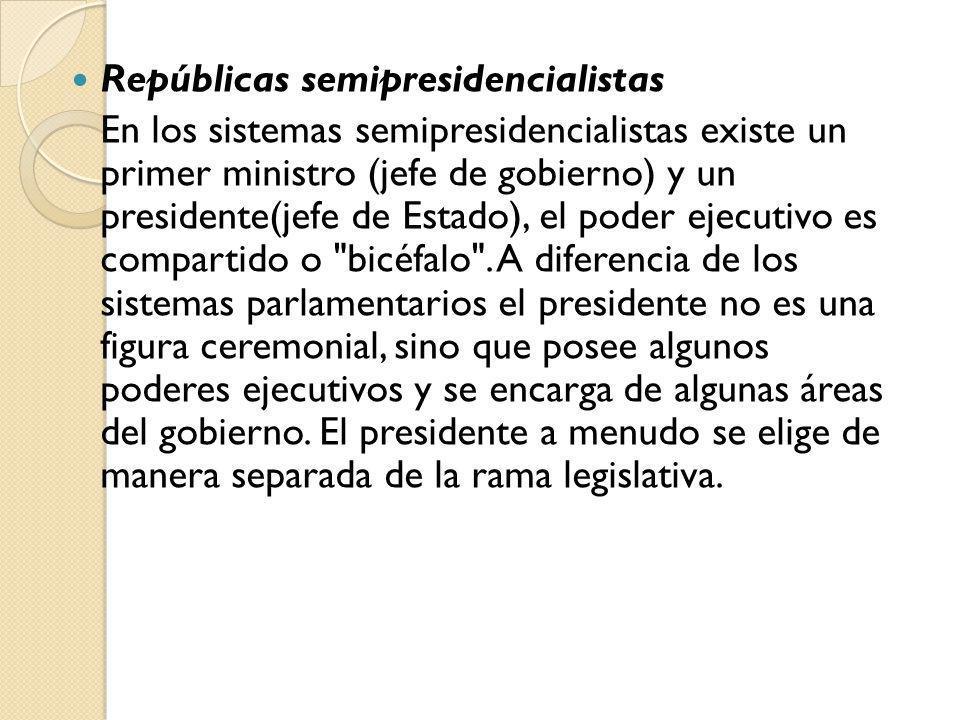 Repúblicas semipresidencialistas