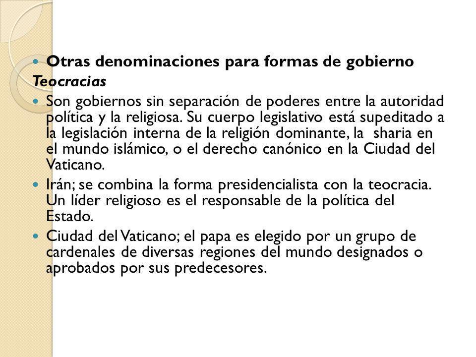 Otras denominaciones para formas de gobierno
