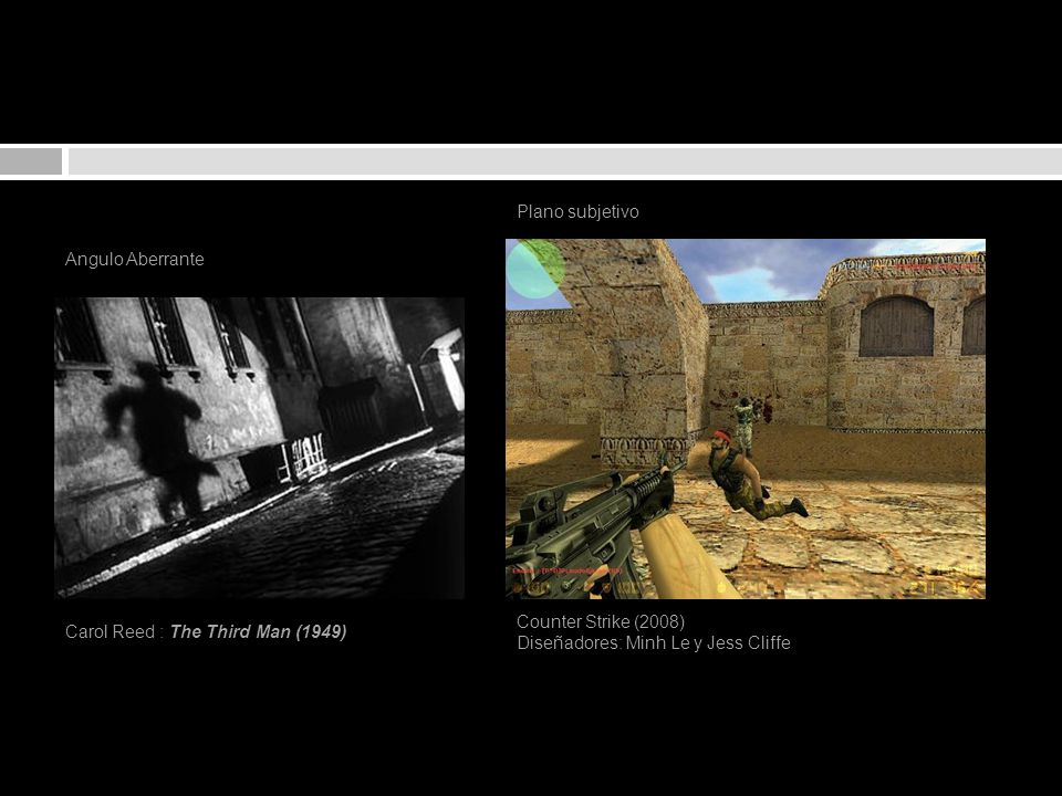 Plano subjetivo Angulo Aberrante. Counter Strike (2008) Diseñadores: Minh Le y Jess Cliffe.