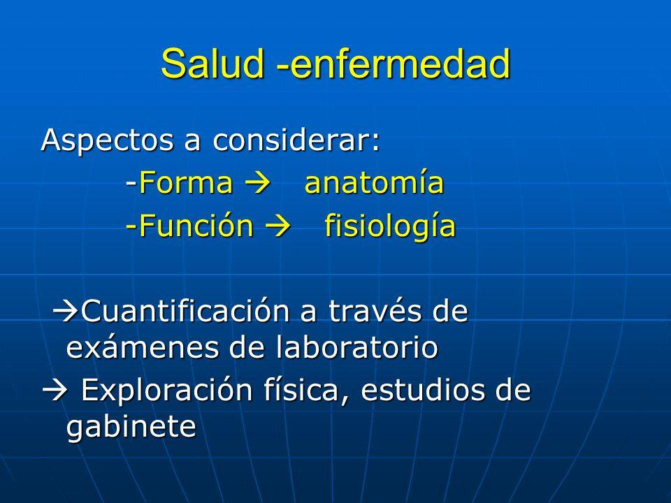 Salud -enfermedad Aspectos a considerar: -Forma  anatomía