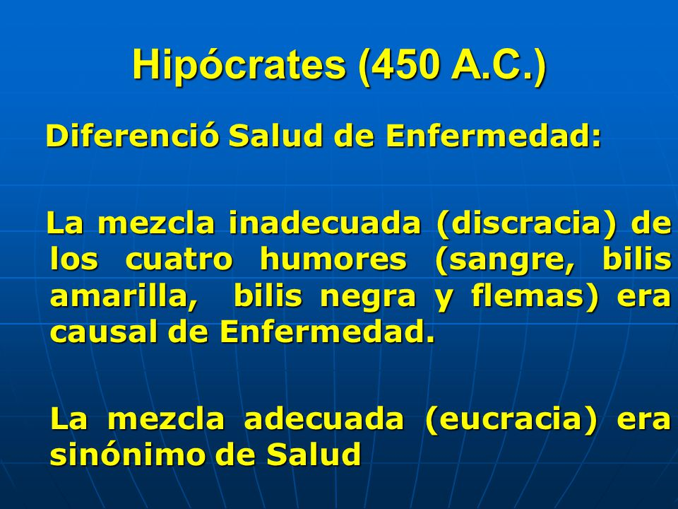 Hipócrates (450 A.C.) Diferenció Salud de Enfermedad:
