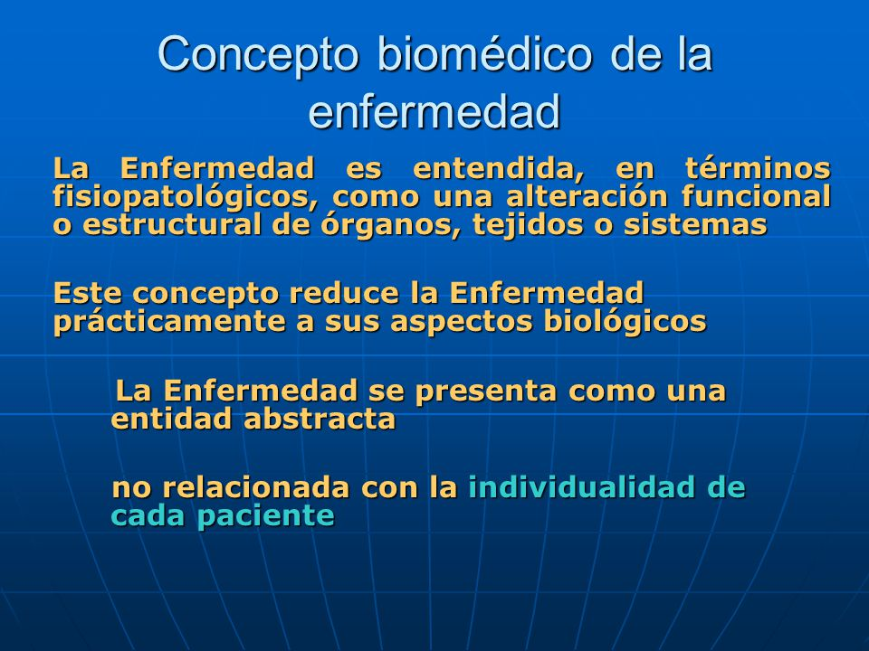 Concepto biomédico de la enfermedad