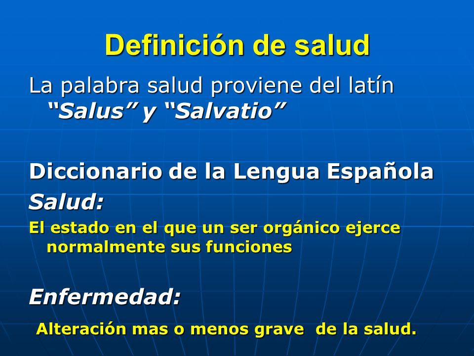 Definición de salud La palabra salud proviene del latín Salus y Salvatio Diccionario de la Lengua Española.