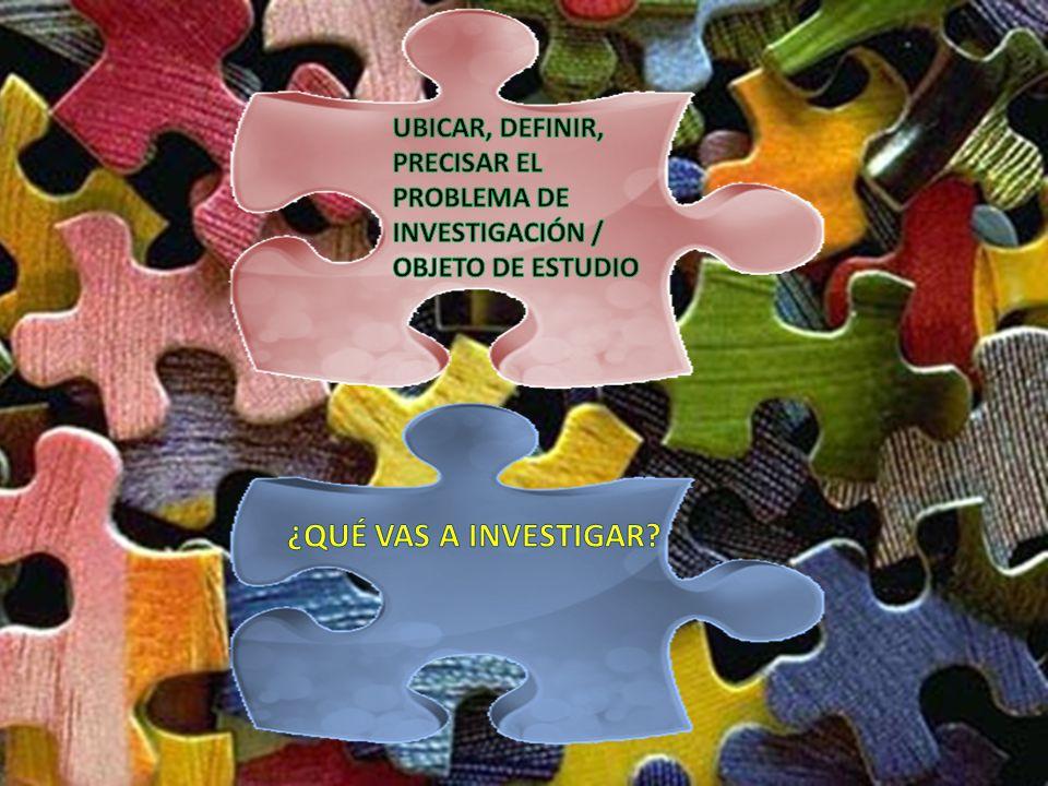 UBICAR, DEFINIR, PRECISAR EL PROBLEMA DE INVESTIGACIÓN / OBJETO DE ESTUDIO