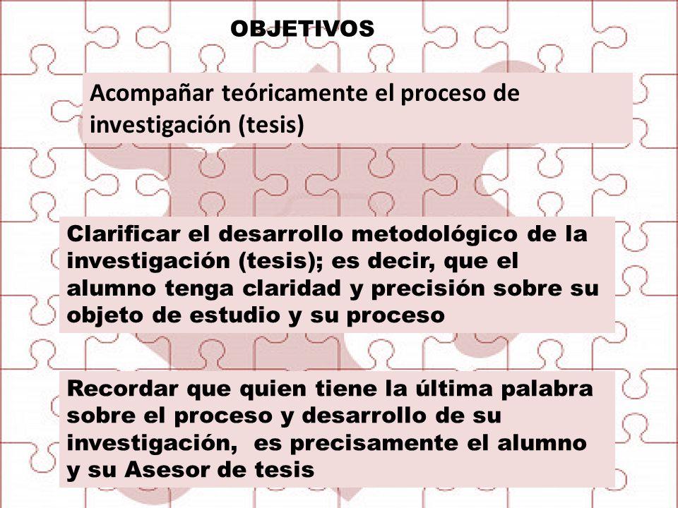 Acompañar teóricamente el proceso de investigación (tesis)