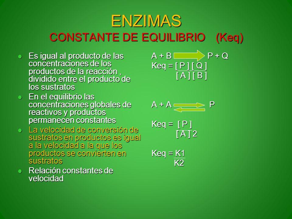 ENZIMAS CONSTANTE DE EQUILIBRIO (Keq)