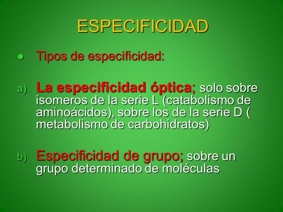 ESPECIFICIDAD Tipos de especificidad: