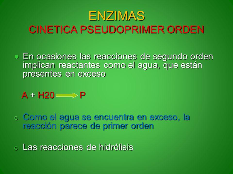 ENZIMAS CINETICA PSEUDOPRIMER ORDEN
