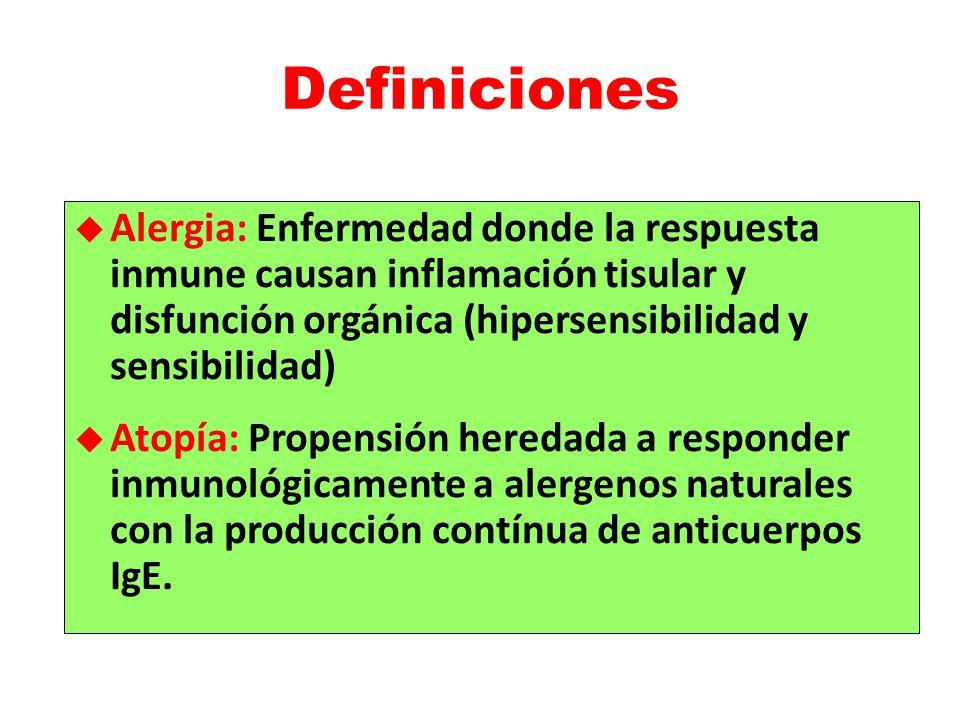 Definiciones Alergia: Enfermedad donde la respuesta inmune causan inflamación tisular y disfunción orgánica (hipersensibilidad y sensibilidad)