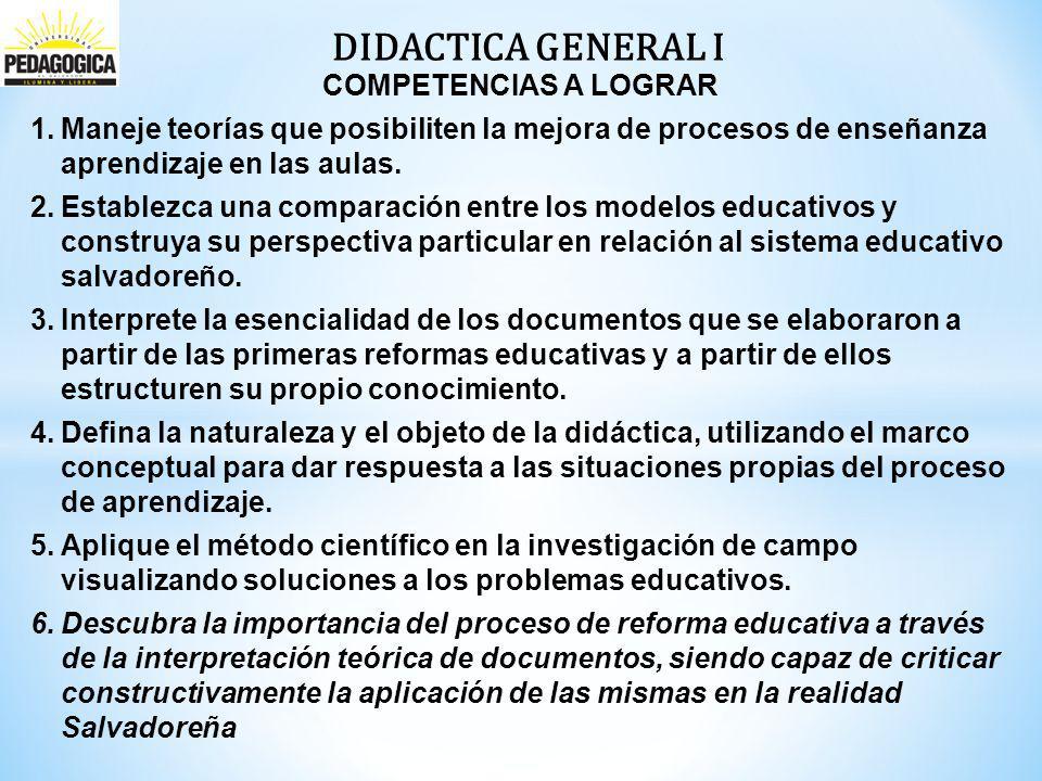 DIDACTICA GENERAL I COMPETENCIAS A LOGRAR