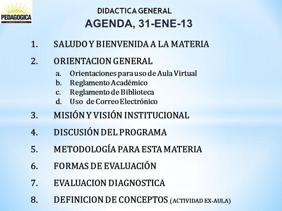 Didactica General I AGENDA, 31-ENE-13