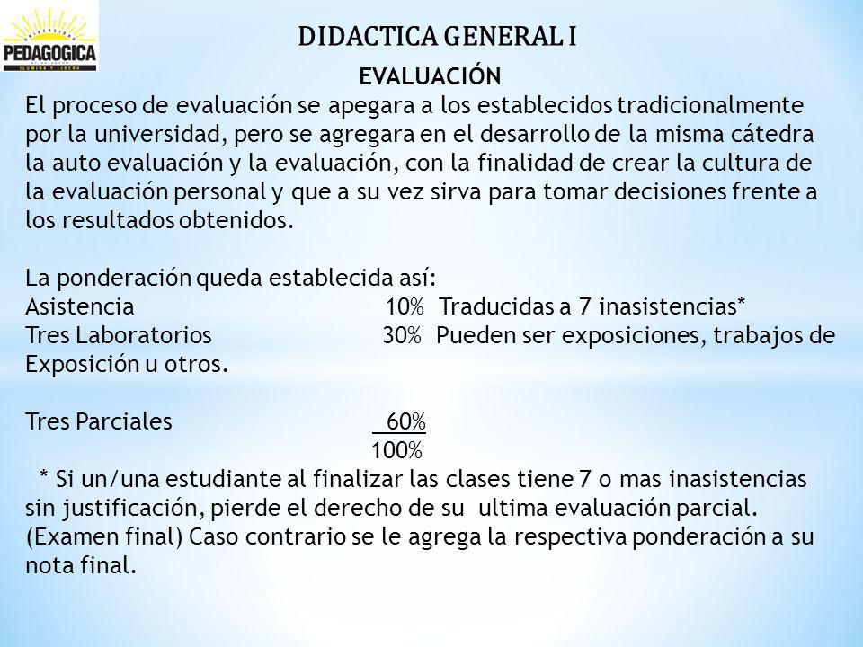 DIDACTICA GENERAL I EVALUACIÓN