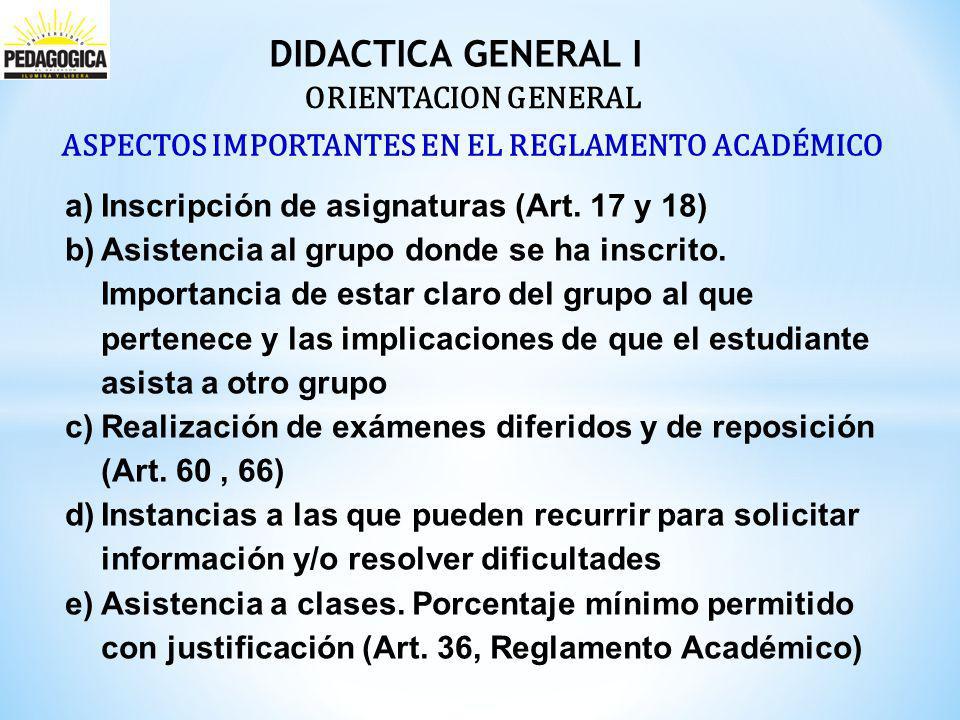 Didactica General I ORIENTACION GENERAL