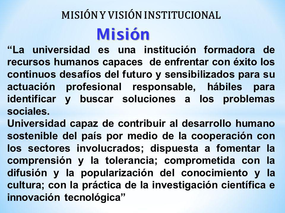 MISIÓN Y VISIÓN INSTITUCIONAL