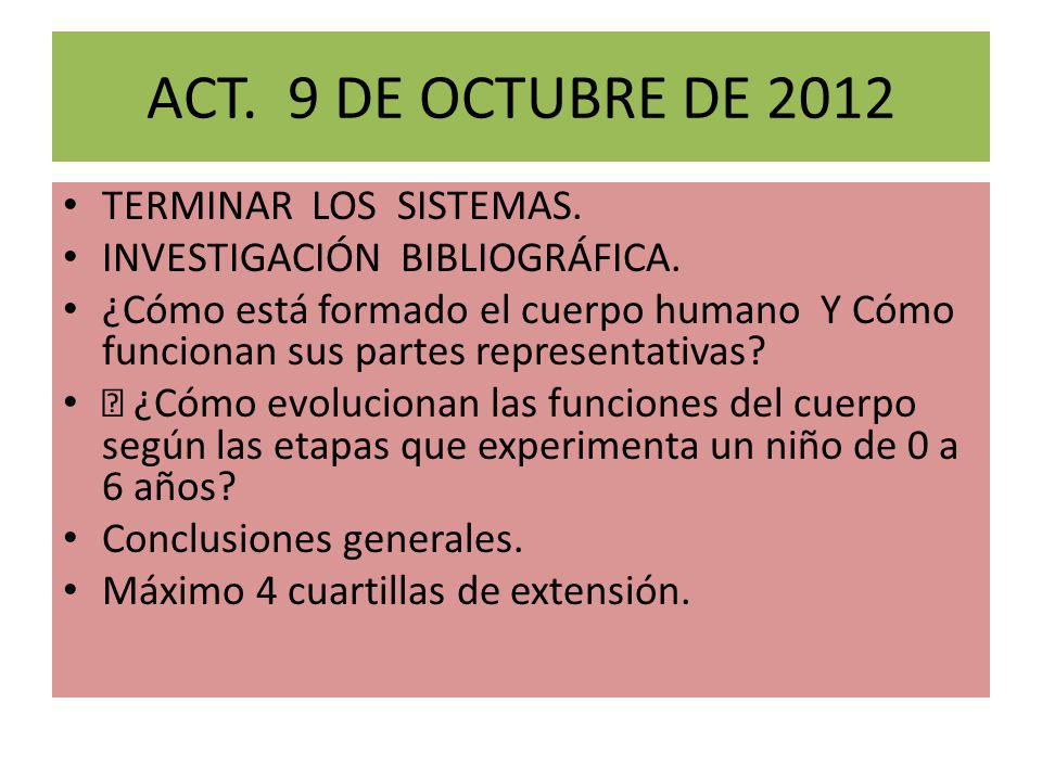 ACT. 9 DE OCTUBRE DE 2012 TERMINAR LOS SISTEMAS.