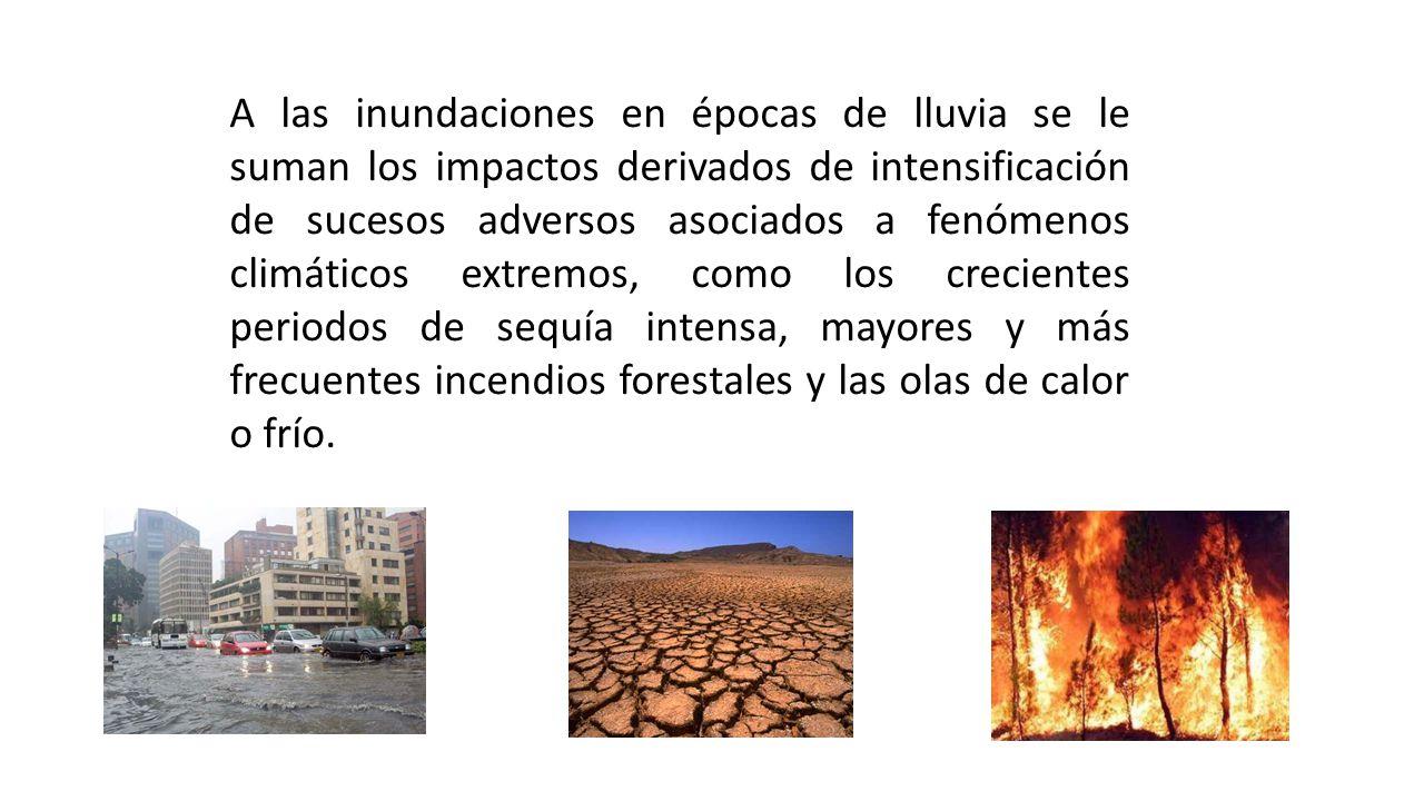 A las inundaciones en épocas de lluvia se le suman los impactos derivados de intensificación de sucesos adversos asociados a fenómenos climáticos extremos, como los crecientes periodos de sequía intensa, mayores y más frecuentes incendios forestales y las olas de calor o frío.