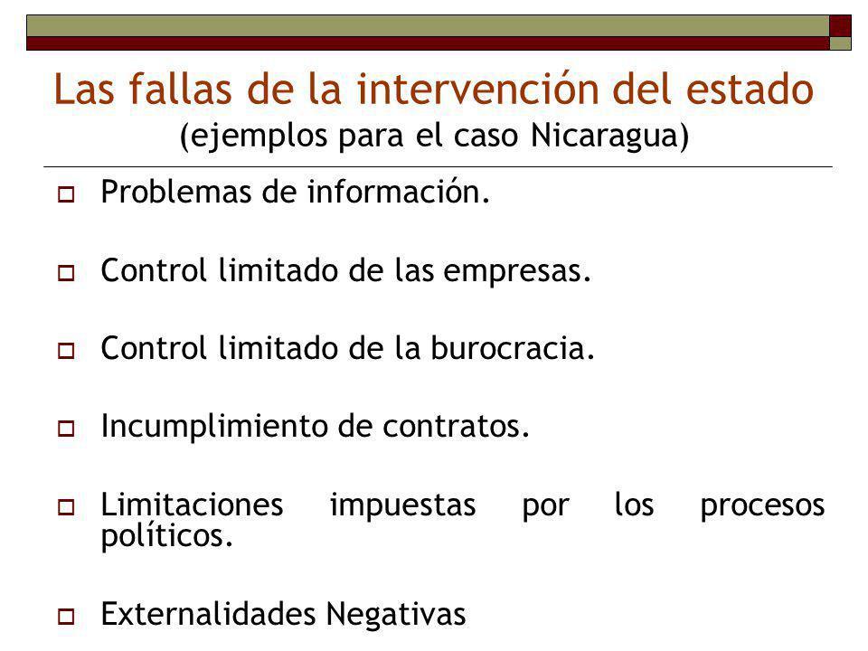 Las fallas de la intervención del estado (ejemplos para el caso Nicaragua)