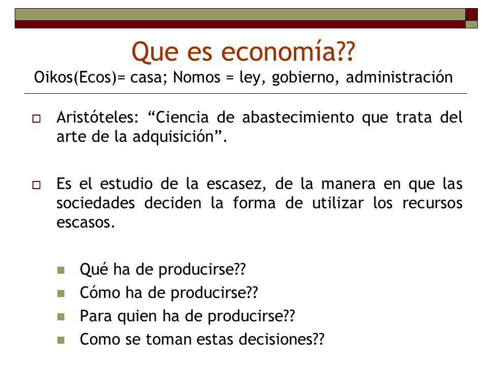 Que es economía Oikos(Ecos)= casa; Nomos = ley, gobierno, administración