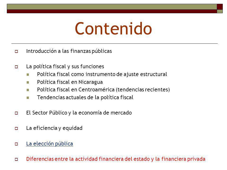Contenido Introducción a las finanzas públicas
