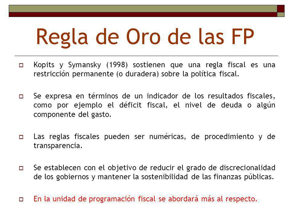 Regla de Oro de las FP Kopits y Symansky (1998) sostienen que una regla fiscal es una restricción permanente (o duradera) sobre la política fiscal.