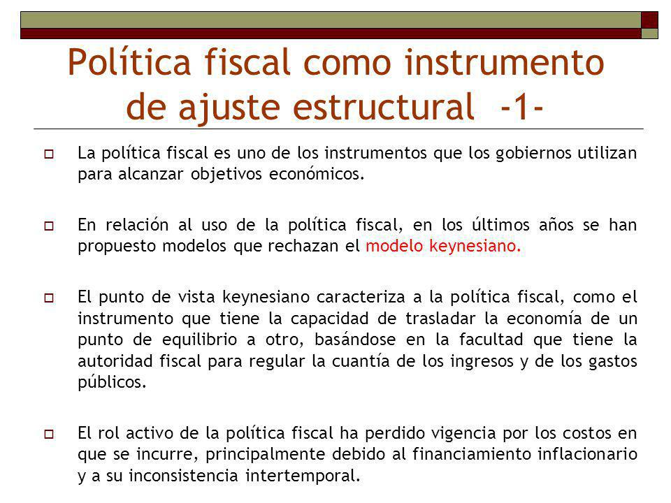 Política fiscal como instrumento de ajuste estructural -1-