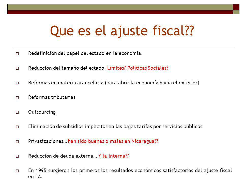 Que es el ajuste fiscal Redefinición del papel del estado en la economia. Reducción del tamaño del estado. Límites Políticas Sociales