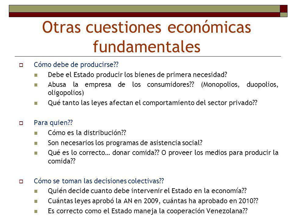 Otras cuestiones económicas fundamentales