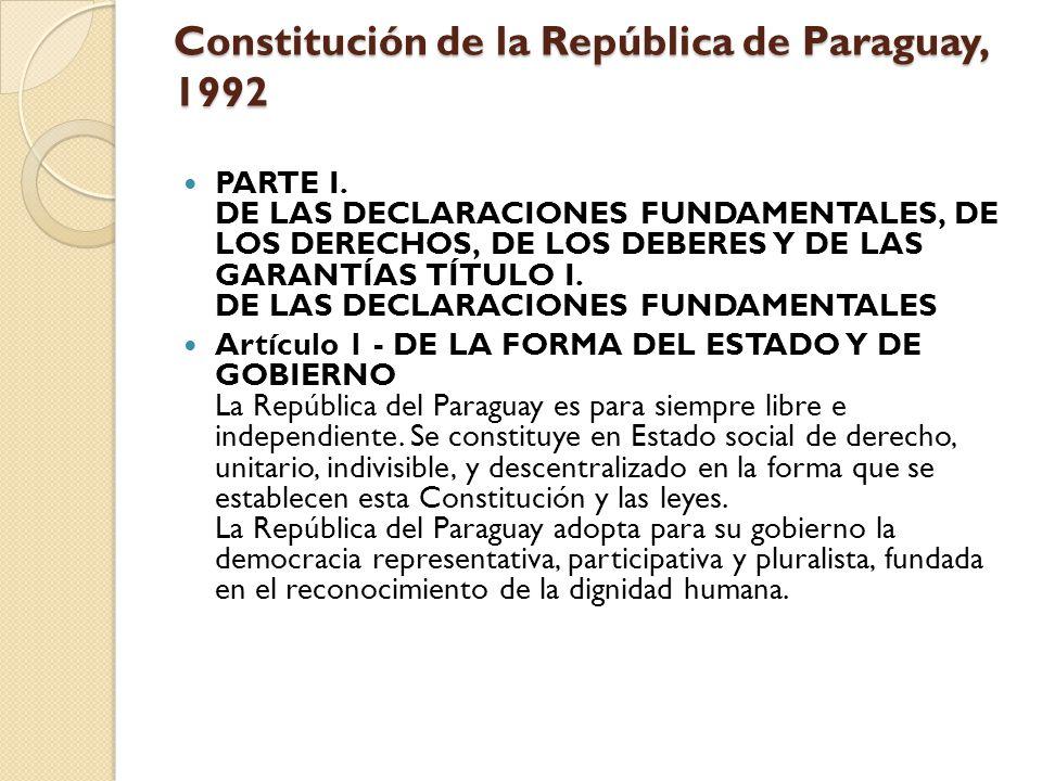 Constitución de la República de Paraguay, 1992