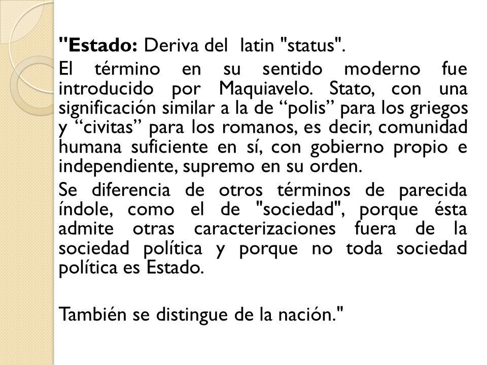 Estado: Deriva del latin status