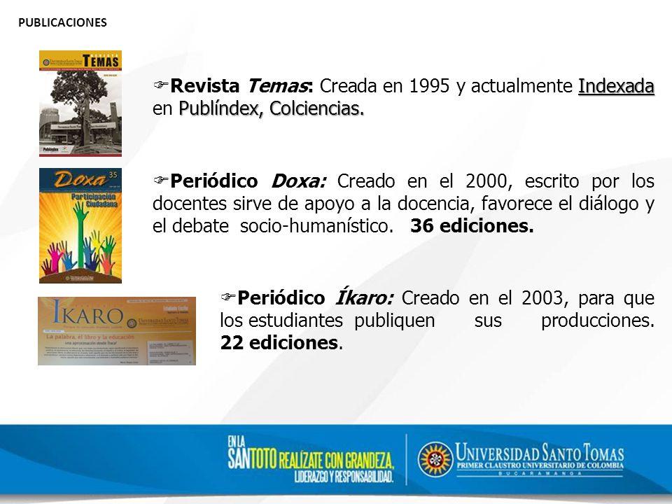 PUBLICACIONES Revista Temas: Creada en 1995 y actualmente Indexada en Publíndex, Colciencias.