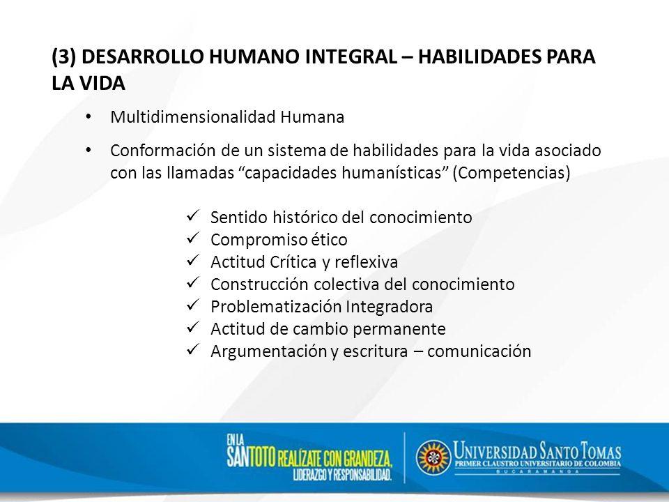(3) DESARROLLO HUMANO INTEGRAL – HABILIDADES PARA LA VIDA