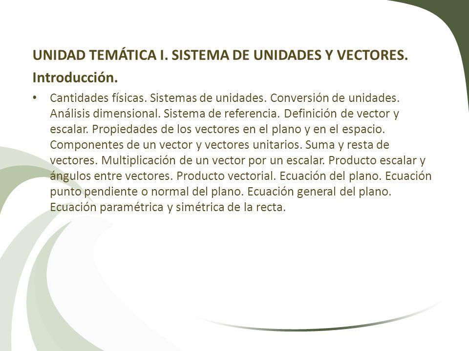 UNIDAD TEMÁTICA I. SISTEMA DE UNIDADES Y VECTORES. Introducción.