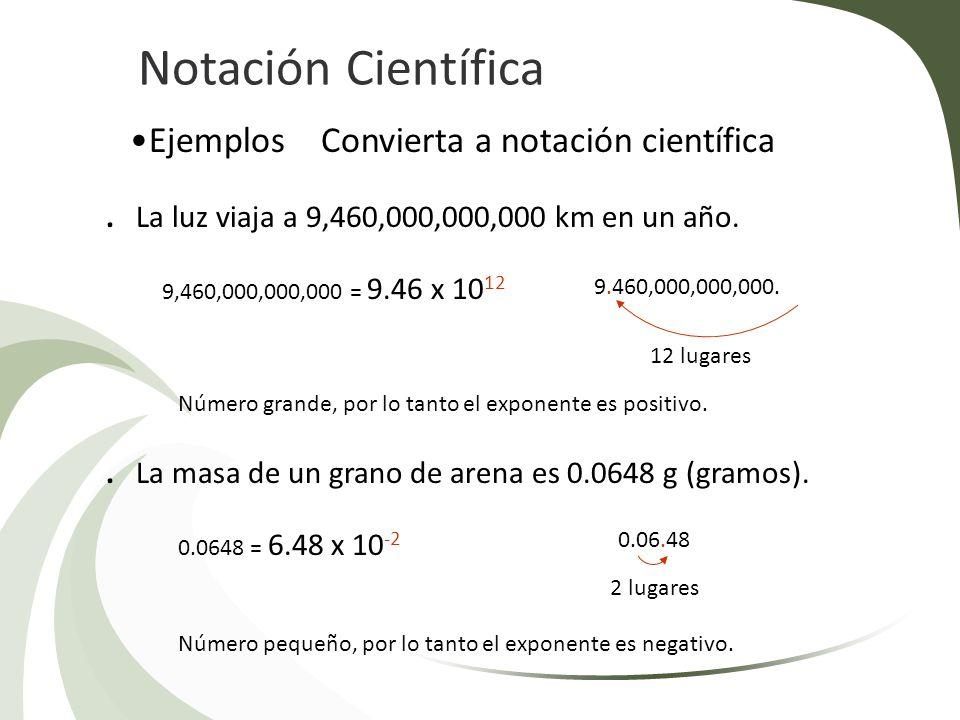 Notación Científica Ejemplos Convierta a notación científica