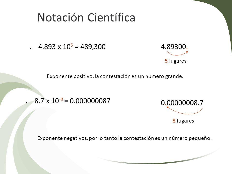 Notación Científica . 4.893 x 105 = 489,300 4.89300.