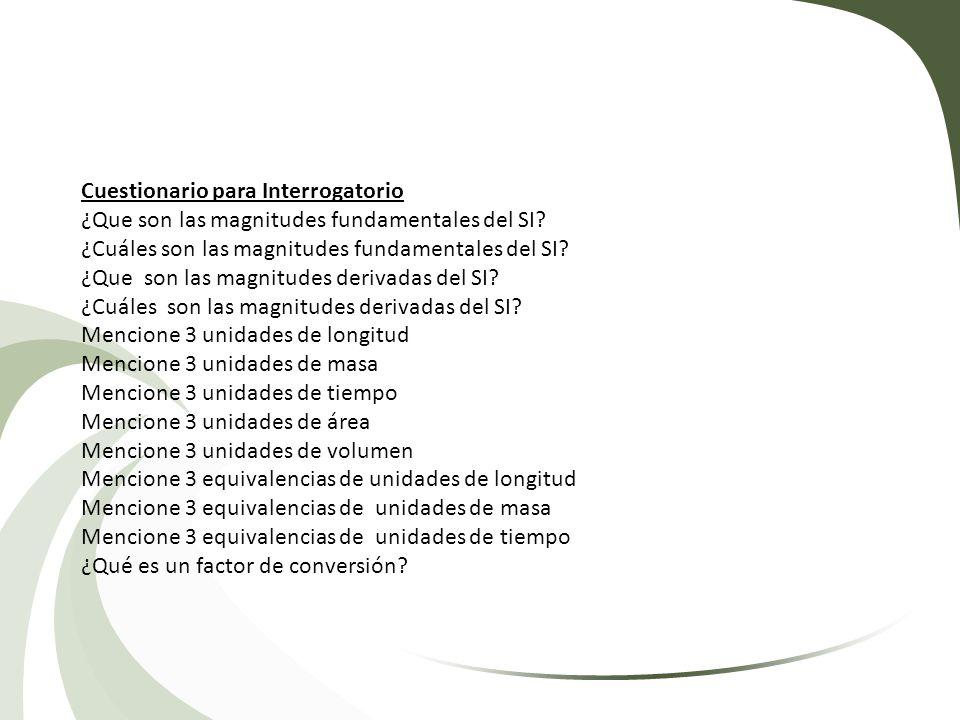 Cuestionario para Interrogatorio