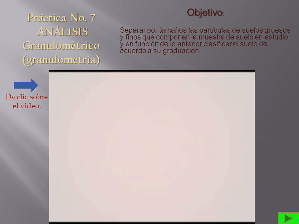 Práctica No. 7 ANÁLISIS Granulométrico (granulometría)