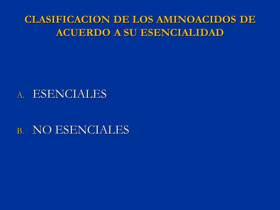 CLASIFICACION DE LOS AMINOACIDOS DE ACUERDO A SU ESENCIALIDAD