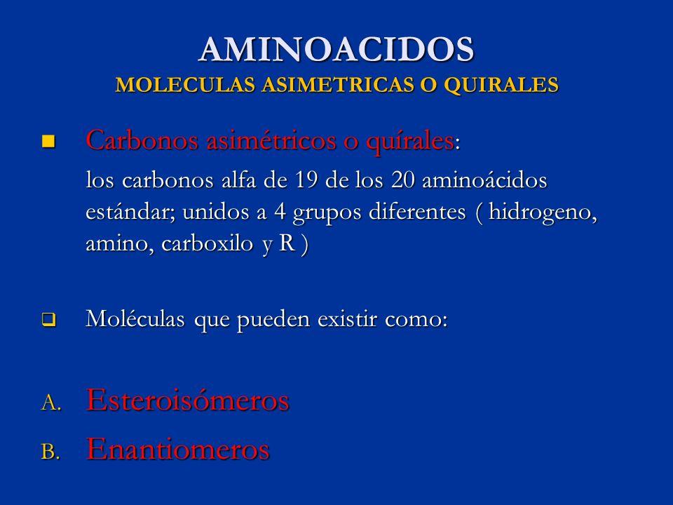 AMINOACIDOS MOLECULAS ASIMETRICAS O QUIRALES