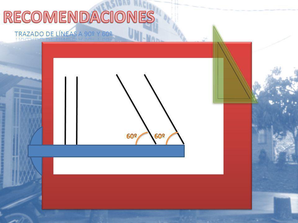 RECOMENDACIONES TRAZADO DE LÍNEAS A 90º Y 60º 60º 60º