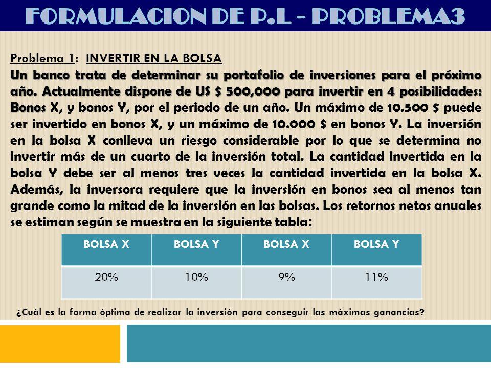 FORMULACION DE P.L - PROBLEMA3
