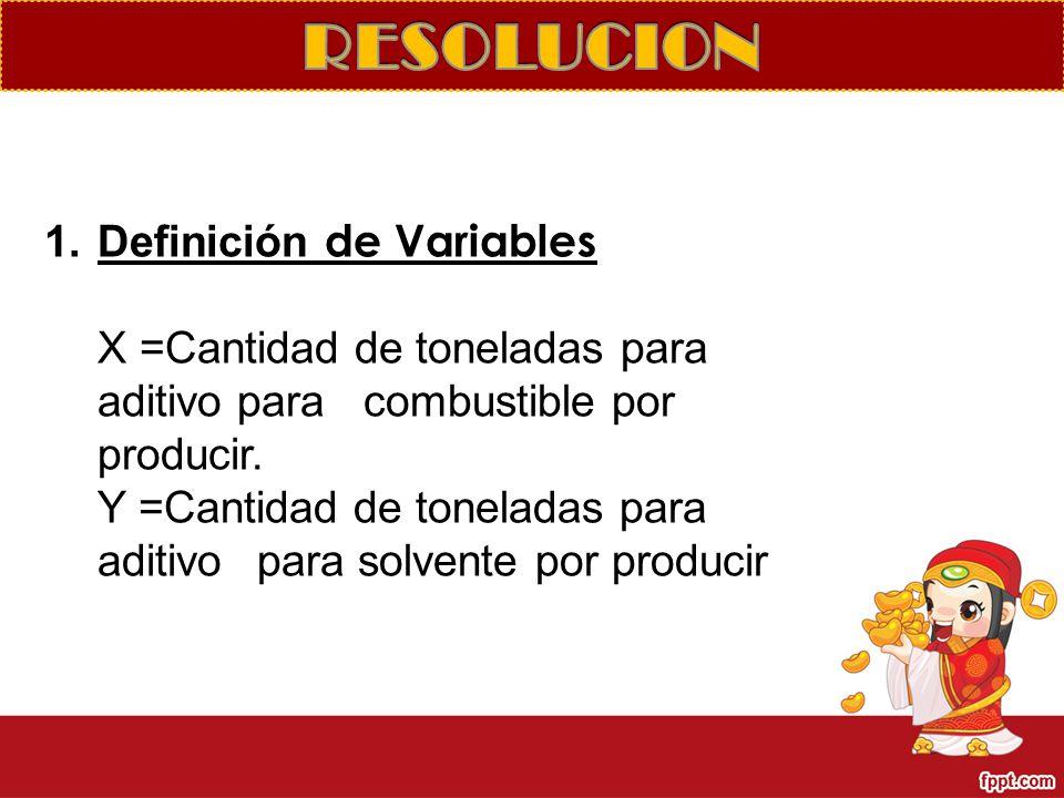 RESOLUCION Definición de Variables