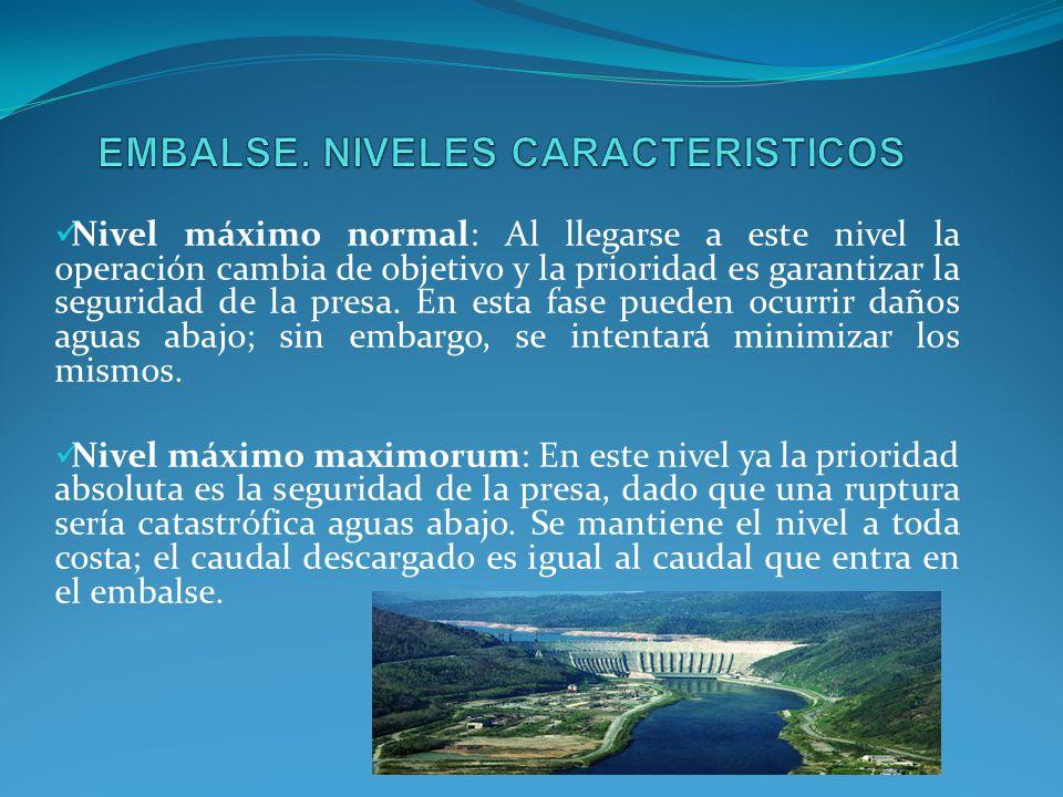 EMBALSE. NIVELES CARACTERISTICOS