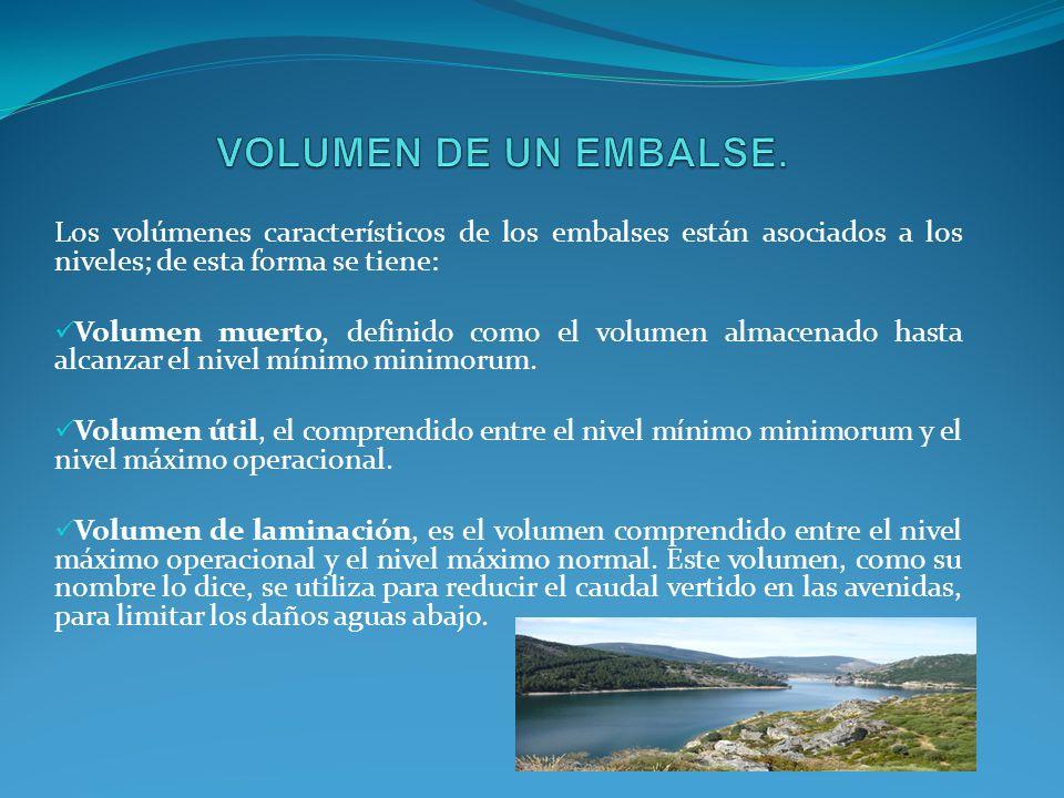 VOLUMEN DE UN EMBALSE. Los volúmenes característicos de los embalses están asociados a los niveles; de esta forma se tiene: