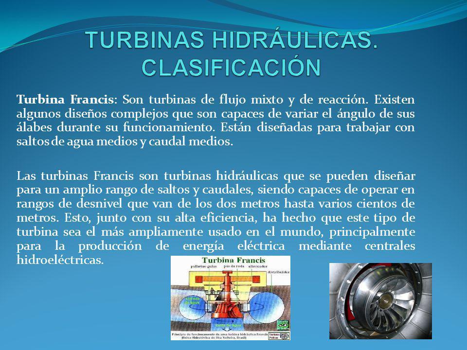 TURBINAS HIDRÁULICAS. CLASIFICACIÓN