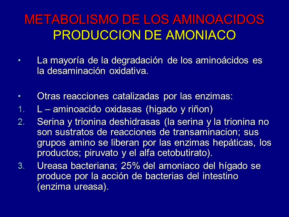 METABOLISMO DE LOS AMINOACIDOS PRODUCCION DE AMONIACO